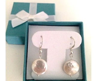 Coin pearl earrings, Bridal jewelry, White pearl earrings, Dangle pearl earrings, Bridesmaids earrings