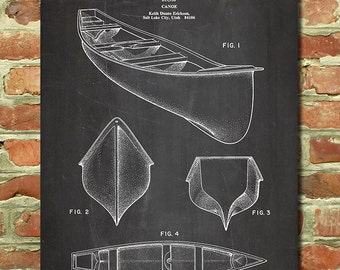Lake House Decor, Canoe Art, Kayaking Gift, Cottage Decor, Lake House Art, Kayak Gift, Canoe Decor, Cottage Art, Canoe Patent Print P042