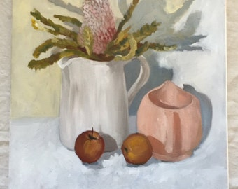 """Original oil painting """"Native and Apples"""""""