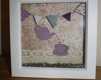 TIME FOR TEA - White 6 in x 6 in box frame shabby chic/vintage style