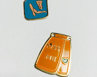 Vintage Enameled Outfit Charms - 2 Pieces - #396