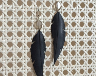 Rubber Feather Earring - grey glass bead