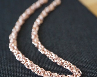 Rose Gold-Colored Byzantine Chainmaille Necklace