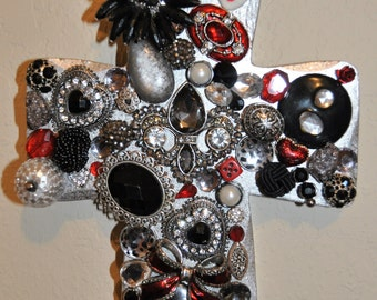 Abstract Jeweled Cross Vintage Wall Hanging