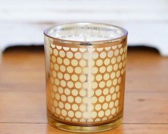 Natural Soy Wax Candle in Gold Polka Dot Patterned Glassware