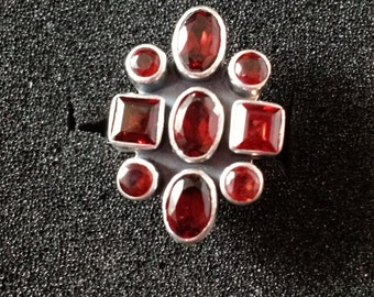 Sterling Silver Art Deco Ring with stunning deep red Garnet stones