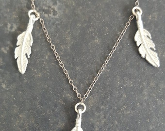 Nature/Yoga Inspired Silver 3-Leaf Necklace