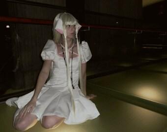 Chobits: XS/S Cute Chii Cosplay White Dress, Wig, Petticoat, Socks Anime