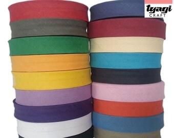 25mm x 25 Meters Bias Binding Cotton Tape. Webbing, Aprons, Decoration, Craft, Bunting, Sewing, Trim Edge, Dress Material.