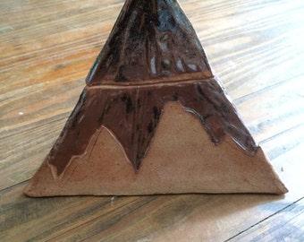 Hand Built Lidded Ceramic Pyramid