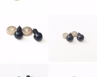 Round Black Plastic Safety Eyes For Dolls Teddy Bears 6mm or 8mm 9mm 10mm 12mm