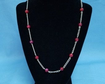Purple shell and silver chain necklace, red, silver, chain, shell beads, various lengths