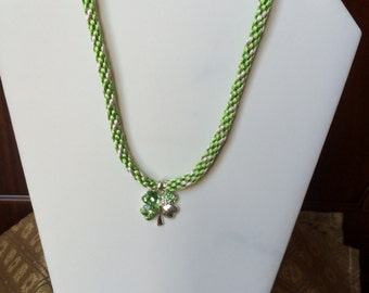 Irish green kumihimo necklace for St. Patrick's Day