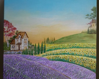 Morning Provence - Original Acrylic Painting On Canvas - Lavender And Sunflower Fields - Landscape Provence France - Handmade