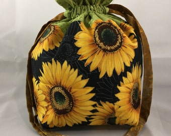 Project Bag for Knitting, Sock Shawl Sized Drawstring Pouch, Daughter Birthday, Small Purse, Sunflowers on Black with Green Accent