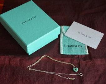 Tiffany & Co Sterling Silver Blue Enamel Heart Lock Pendant Charm Necklace