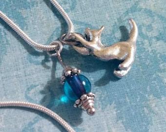 Cat Necklace / Boho Necklace / Kitten Necklace / Kitty Necklace / Silver Necklace