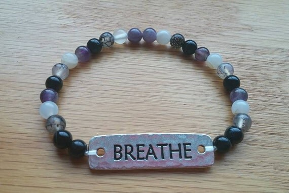 "5"" Breathe Bracelet. Black Onyx, Dragon Vein, Moonstone, Amethyst, Rose Quartz, ""Breathe"" plate on stretchy string. CF Awareness."