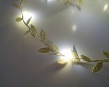 Gold Leaf Wire Garland With Mini LED - 2m 3m 4m 5m Fairy Lights / String Lights - Battery  Indoor Bedroom Nursery Winter Wedding Decoration