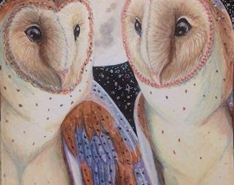 Companions- 4.5x6.5 inch ORIGINAL Colored Pencil Barn Owl Drawing
