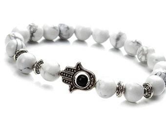 8mm White Howlite Bracelet, Mens Beaded Bracelet, Howlite Men's Bracelet,White Gemstone Bracelet,Magnesite Bead Bracelet,Hamsa Bracelet Mens
