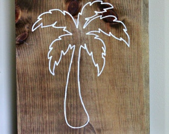 Beach Inspired Palm Tree Rustic Wood Sign, Cottage Decor, Home Decor