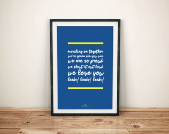 """Leeds United Football Club """"Marching On Together"""" Script Print"""