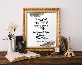 2 Timothy 1:7, Printable Bible Verse, For the Spirit God, Scripture Wall Art, Instant Download, Printable Christian Wall Art, Watercolor Art