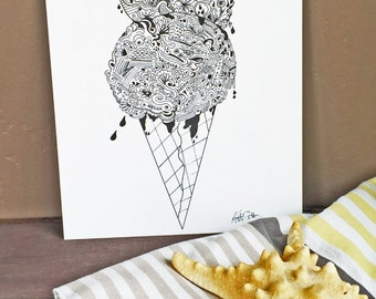 TWO SCOOPS  - Hand Drawn, Pen and Ink, Art Print, illustration, Wall art, Kids Room Art