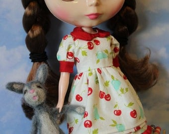 Handmade Blythe Summer Dress, Blythe Doll Dress, Fourth of July Blythe Dress, Cherries and Pears Blythe Dress, OOAK Blythe Dress