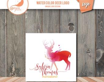 Unique Photographer Logo Premade Design- Watercolor Deer Photography