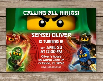 Ninjago Invitation, Lego Invitation, Green Ninja Invitation, Ninjago Birthday Invites,  Lego Movie Birthday, Lego Party, Lego Baby Shower