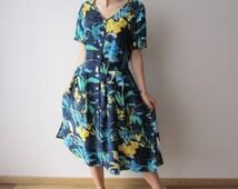 90's Summer Dress Flowers Print Short Sleeve Button Up Dress Hipster Girl Shirt Dress Large Size Blue Midi Dress