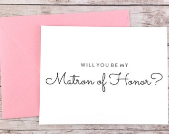 Will You Be My Matron of Honor Card, Matron of Honor Proposal Card, Wedding Card, Matron of Honor Gift, Bridal Party Card - (FPS0016)