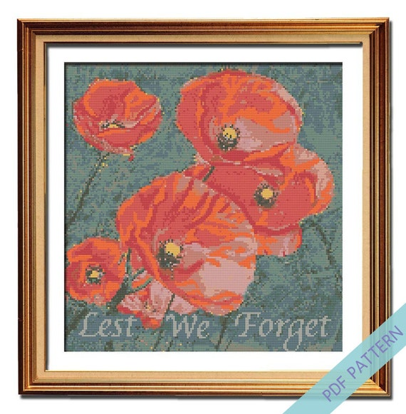Embroidery Patriotic Stitch Poppy Flanders Field Poppies