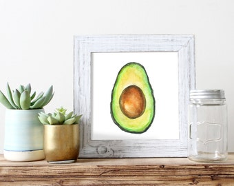 Avocado Watercolor Print | Avocado Art | Avocado illustration | Avocado Watercolor |Avocado decor | Avocado Print|Food Art |Avocado Painting