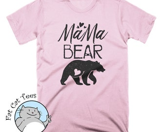 Cute Mama Bear T Shirt Womens Grizzly Bear T Shirt Mothers Day Gifts For Moms New Baby Announcements Animal Shirt Funny Tees For Women
