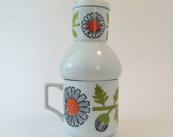 Mid Century Modern Carafe and Cup Set Coffee Hottle Tea Hottle Tea for One Vintage Flower Power Gift Giving Mod Retro MCM Orange Flowers