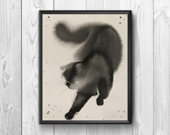 Black cat watercolor print. Nice watercolor composition