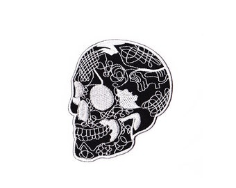 Skull  Patch - Black Skull patch Embroidered Iron on Patch - Skull  Iron on Applique