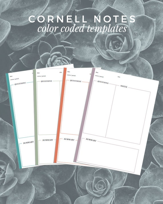 Cornell Note Templates A4 & A5 color-coded by YuccaPrintShop