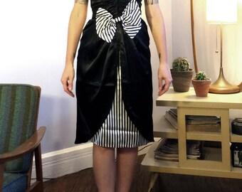 Vintage 1980s Gunne Sax by Jessica McClintock Black & White Striped Strapless Party Dress Size Small