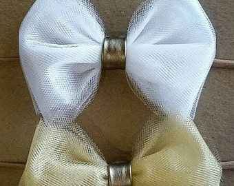 Faux Leather Tied Tulle Bows