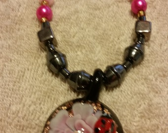 Pink and Black Necklace and Earring Set