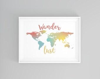 Wanderlust Digital Print, Quote, Wall Art, Printables