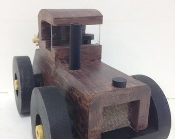 Wooden Tractor w/ Hook and Cable