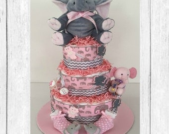 3-Tier Pink and Gray Elephant Diaper Cake, Elephant, Pink and Gray, Elephant Baby Shower, Shower Centerpiece, Girl Baby Shower, Diaper Cake