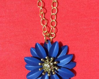 Blue flower pendant gold chain necklace FREE SHIPPING