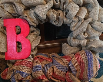 July 4th square burlap with accent monogram.