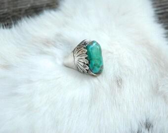 Vintage Padilla Silver Turquoise Ring, Navajo/Southwestern/Mens Ring